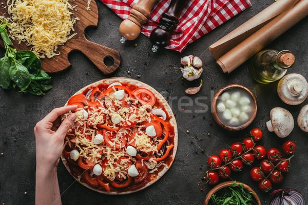 Stok fotoğraf: Atış · kadın · peynir · pizza · beton · tablo