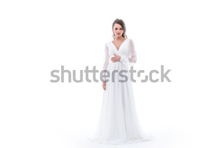 Stockfoto: Brunette · bruid · poseren · traditioneel · trouwjurk · geïsoleerd