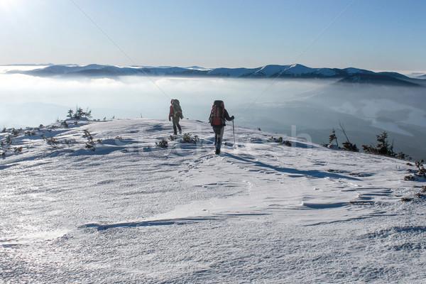 men hiking on snowy mountains in winter, Carpathian Mountains, Ukraine Stock photo © LightFieldStudios