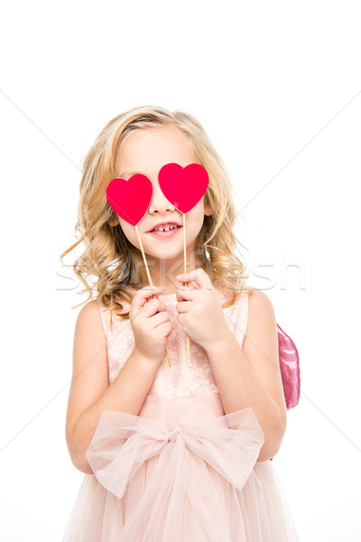 Girl holding red hearts  Stock photo © LightFieldStudios