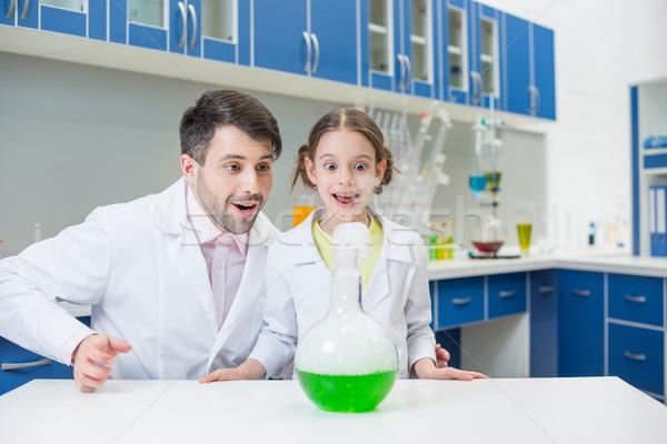 Portré férfi tanár lány diák tudósok Stock fotó © LightFieldStudios