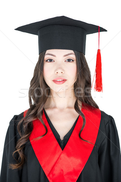 Beautiful young brunette woman in mortarboard smiling at looking at camera    Stock photo © LightFieldStudios