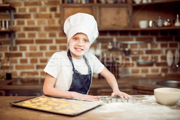 Portré kicsi fiú szakács sapka készít alakú Stock fotó © LightFieldStudios