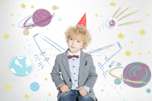 мальчика конус Hat портрет Cute Сток-фото © LightFieldStudios