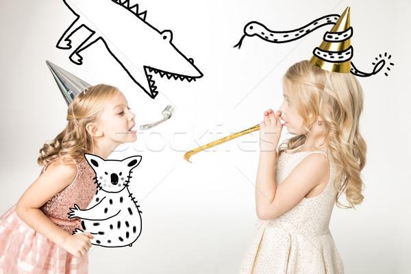 Cute filles cône portrait fête Photo stock © LightFieldStudios
