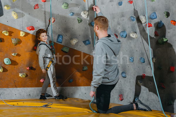 Little boy in climbing harness Stock photo © LightFieldStudios