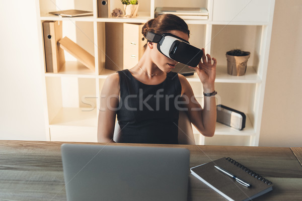 businesswoman with virtual reality glasses Stock photo © LightFieldStudios