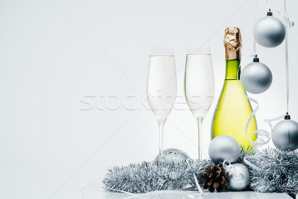 Bottiglia champagne Natale decorazioni isolato Foto d'archivio © LightFieldStudios