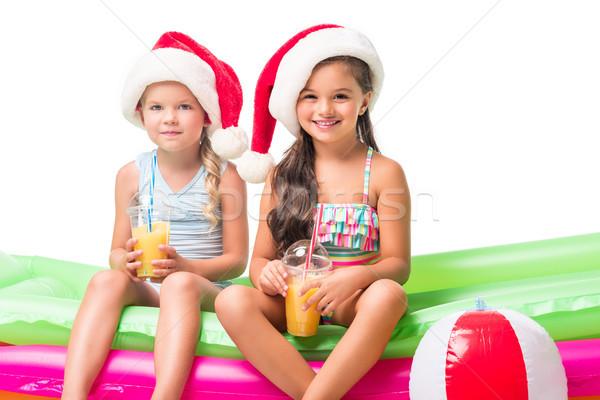 çocuklar portakal suyu gülen Stok fotoğraf © LightFieldStudios