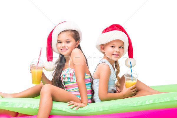 Kinderen hoeden sinaasappelsap aanbiddelijk Stockfoto © LightFieldStudios