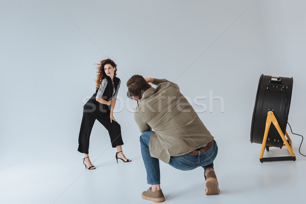 photographer and model on fashion shoot  Stock photo © LightFieldStudios