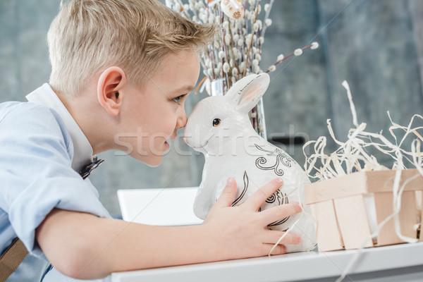 мальчика Пасхальный заяц профиль портрет Cute мало Сток-фото © LightFieldStudios