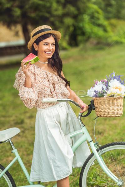 Ragazza anguria bicicletta bella sorridere bruna Foto d'archivio © LightFieldStudios