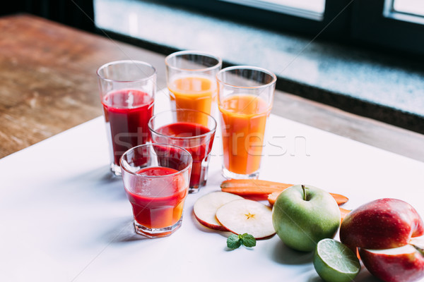 Foto stock: Gafas · primer · plano · vista · frutas · vegetales