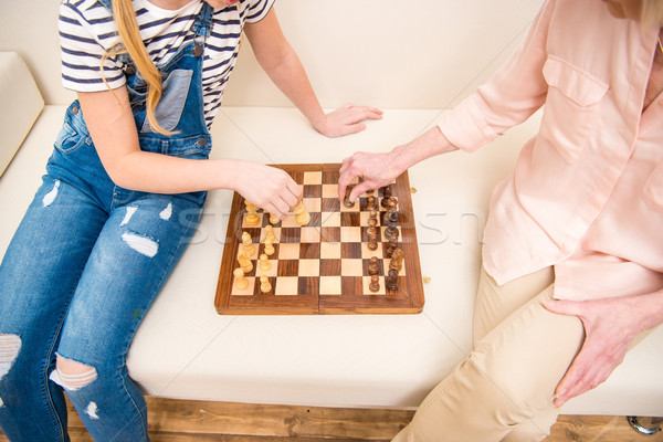 Tiro menina senior mulher jogar xadrez Foto stock © LightFieldStudios