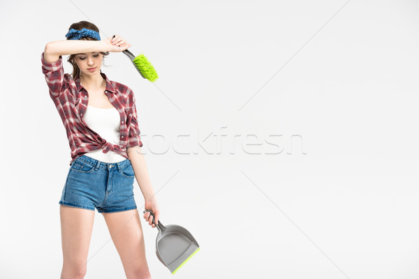 Woman with scoop and brush Stock photo © LightFieldStudios