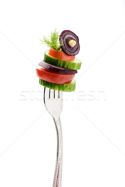 sliced vegetables on fork isolated on white. healthy lifestyle concept Stock photo © LightFieldStudios