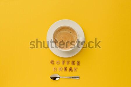 Haut vue tasse fraîches chaud café Photo stock © LightFieldStudios