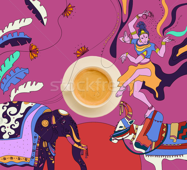 coffee with colorful mexican theme Stock photo © LightFieldStudios