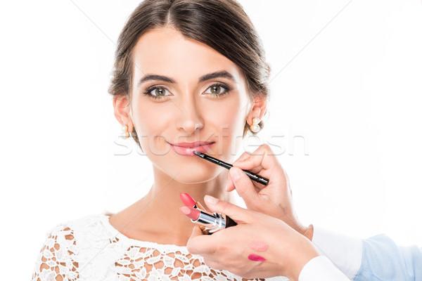 メーキャップアーチスト 適用 口紅 モデル 表示 リップ ストックフォト © LightFieldStudios