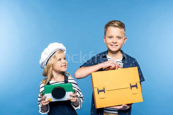 kids with camera and briefcase Stock photo © LightFieldStudios