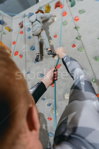 Stok fotoğraf: Küçük · erkek · tırmanma · duvar · atış