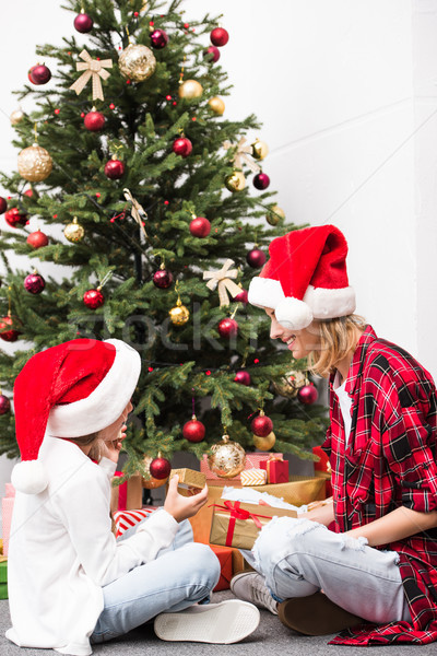 Stock photo: mother and daughter with christmas presents