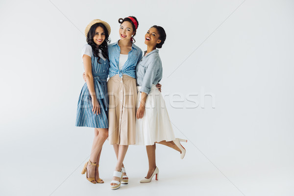 Frauen stylish Retro Kleidung posiert Stock foto © LightFieldStudios