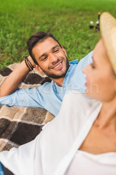Uśmiechnięty człowiek patrząc sympatia selektywne focus Zdjęcia stock © LightFieldStudios