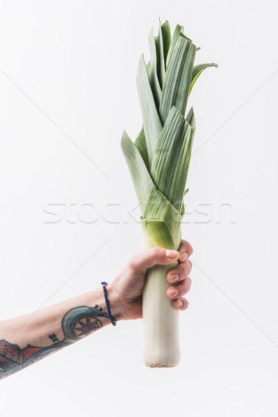 Mão verde alho-porro isolado branco Foto stock © LightFieldStudios