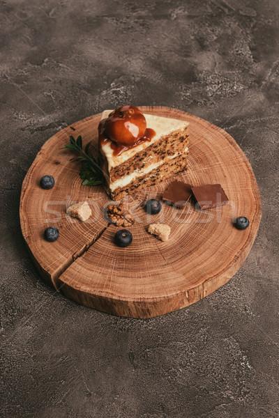 Darab gurmé torta csokoládé áfonya fa deszka Stock fotó © LightFieldStudios