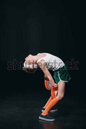 Kimerült fiú boxkesztyűk izolált fekete aktív Stock fotó © LightFieldStudios