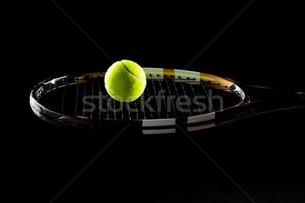 Teniszlabda ütő közelkép kilátás fényes fekete Stock fotó © LightFieldStudios