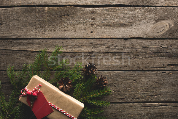Christmas geschenk pine top Stockfoto © LightFieldStudios