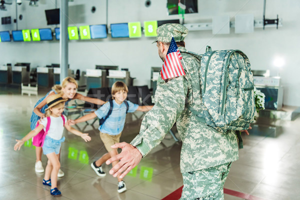 family meeting father in military uniform Stock photo © LightFieldStudios