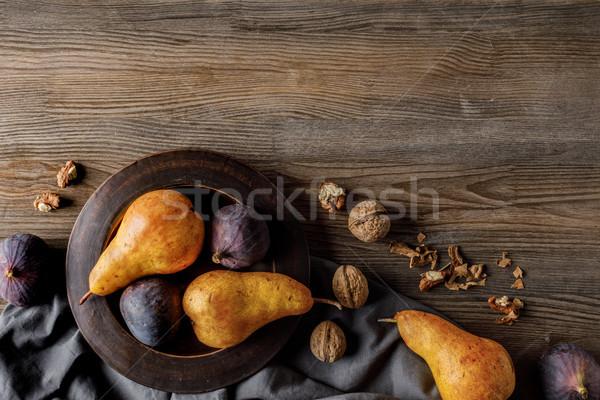 Peren top plaat tafelkleed houten Stockfoto © LightFieldStudios