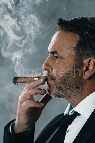 businessman smoking cigar Stock photo © LightFieldStudios