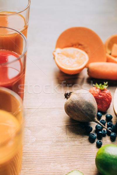 Foto stock: Gafas · primer · plano · vista · frescos · frutas