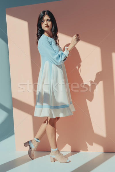 Femme mode turquoise robe permanent Photo stock © LightFieldStudios