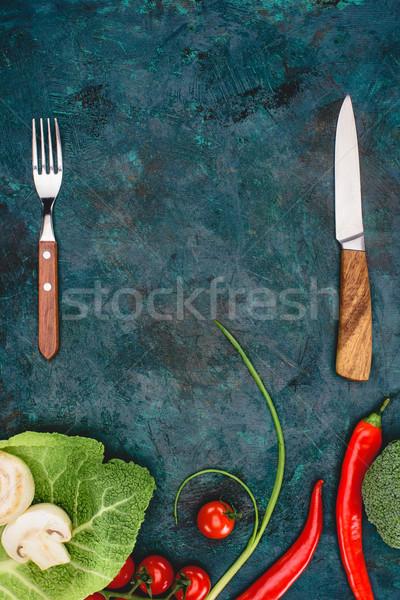 Top мнение вилка ножом свежие здорового Сток-фото © LightFieldStudios