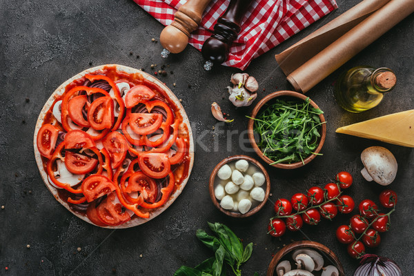 Superior vista pizza ingredientes concretas Foto stock © LightFieldStudios