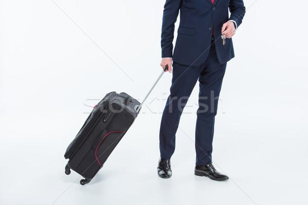 Biznesmen walizkę widoku klucze pracy Zdjęcia stock © LightFieldStudios