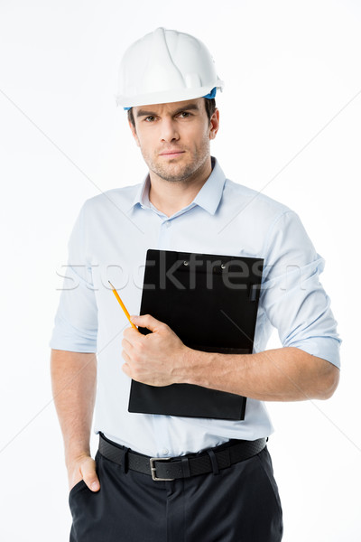 Stock photo: Male architect in hard hat