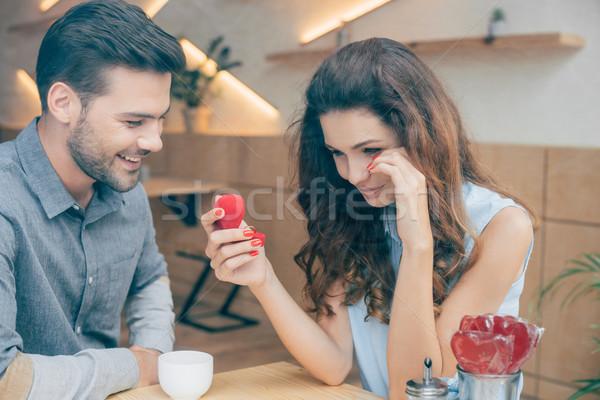 Donna anello di fidanzamento ritratto lacrime cafe Foto d'archivio © LightFieldStudios