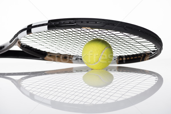 Stockfoto: Tennisbal · racket · shot · witte
