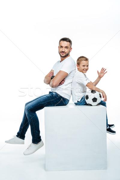 父から息子 座って サッカーボール にログイン ボール 少年 ストックフォト © LightFieldStudios