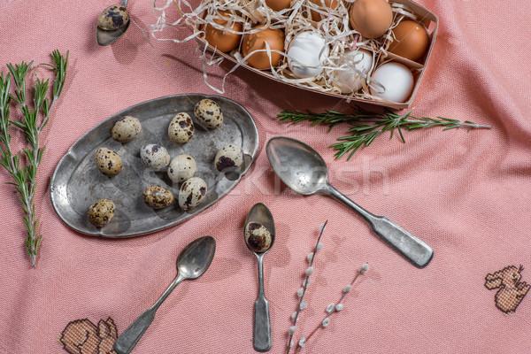Jaj starych sztućce kurczaka rozmaryn srebrny Zdjęcia stock © LightFieldStudios