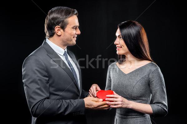 Paar speelgoed hart Rood glimlachend Stockfoto © LightFieldStudios