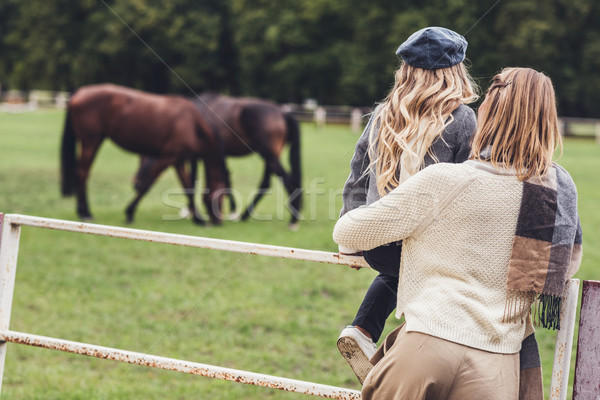 mother and daughter at paddock with horses Stock photo © LightFieldStudios