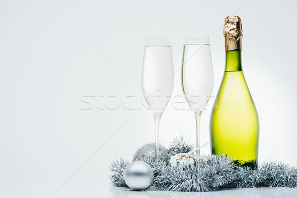 Butelki szampana christmas dekoracje odizolowany Zdjęcia stock © LightFieldStudios